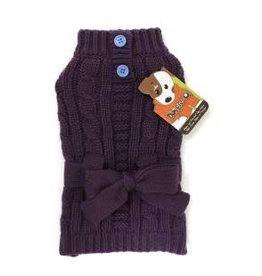 Doggie-Q Doggie-Q Purple Belted Sweater - 10in