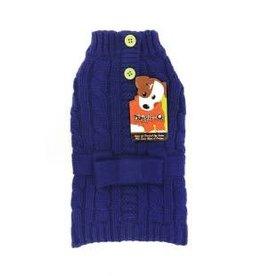 Doggie-Q Doggie-Q Blue Belted Sweater - 8in