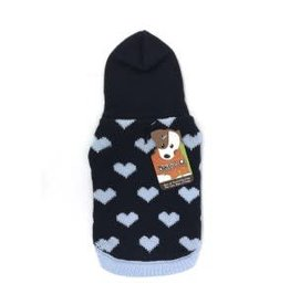 Doggie-Q Doggie-Q Navy Hearts Hooded Sweater - 12in