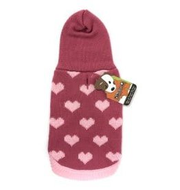 Doggie-Q Doggie-Q Pink Hearts Hooded Sweater - 18in