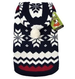 Doggie-Q Doggie-Q Hooded Sweater Navy Blue With Snowflakes - 18in
