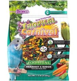 Tropical Carnival Zoo-Vital Parakeet/Budgie Extruded Daily Diet 1.5 Lb