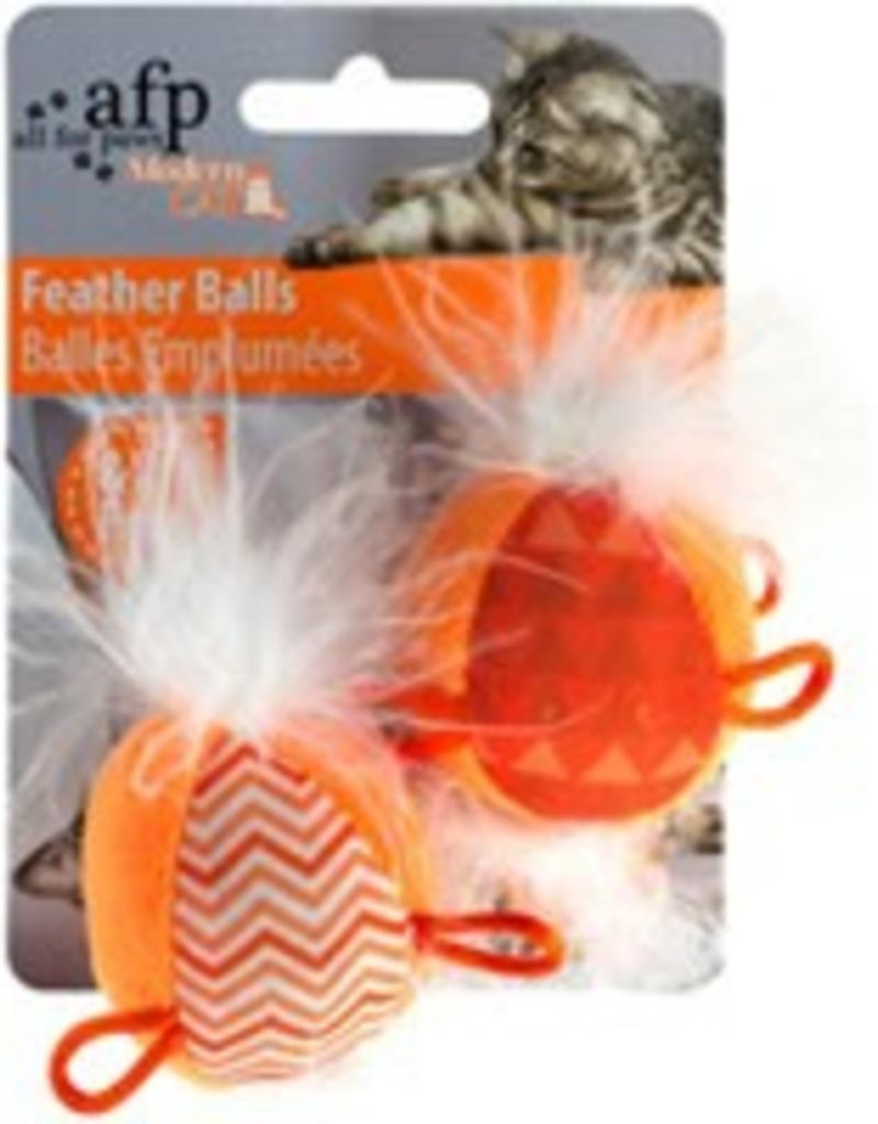 All Four Paws All for Paws Modern Cat Feather Balls with Sound - 2 pack