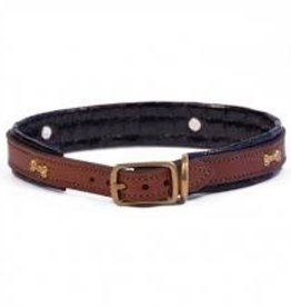 Lacets Arizona Lacets Arizona Leather Collar with Bones Black 1x20""