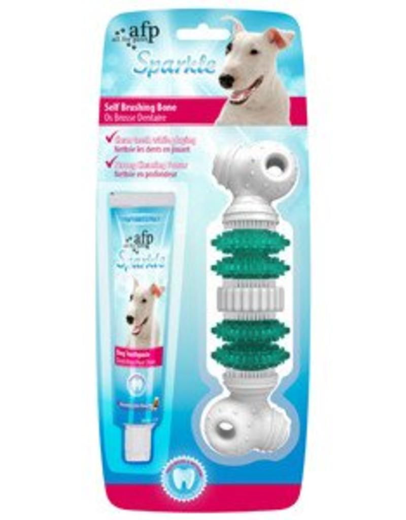 All Four Paws All for Paws Sparkle Self Brushing Bone with Peanut Butter Toothpaste