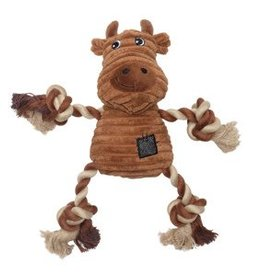 Dogit Dogit Stuffies Dog Toy - Corduroy Plush & Rope Brown Cow - 23 cm (9 in)
