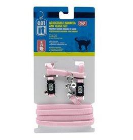 Catit Catit Adjustable Nylon Cat Harness & Leash Set - Pink, Small