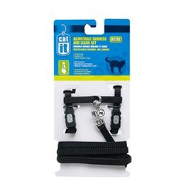 Catit Catit Adjustable Nylon Cat Harness & Leash Set - Black, Medium