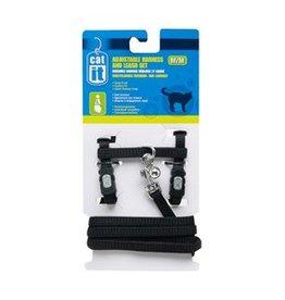 Catit Catit Adjustable Nylon Cat Harness & Leash Set - Black, Medium