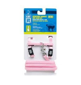 Catit Catit Adjustable Nylon Cat Harness & Leash Set - Pink, Medium