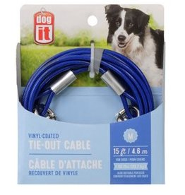 Dogit Dogit Pet Tether Dog Tie-out Cable - Blue - Medium - 4.6 m (15 ft)