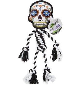GoDog Sugar Skulls Ball & Rope White Large 16''