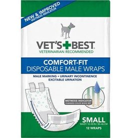 Vets Best Disposable Male Wrap Small 12pk
