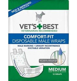 Vets Best Disposable Male Wrap Medium 12pk