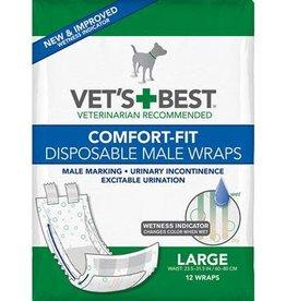 Vets Best Disposable Male Wrap Large 12pk