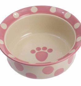 """Petrageous Petrageous Polka Paws 6.25"""" Food/water - Pink - 1C"""