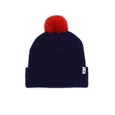 Thermal Knit Pom Beanie Navey w/ Red