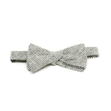Grey & White Stripe Bow Tie