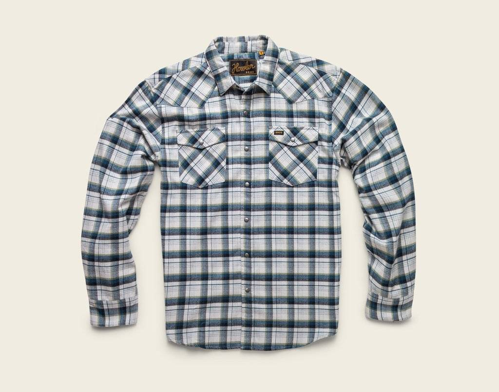Howler Brothers stockman flannel shirt: carrroll plaid: white/grey/green
