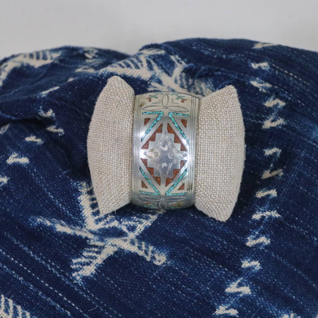 Large Navajo Cuff with Turquoise and Coral
