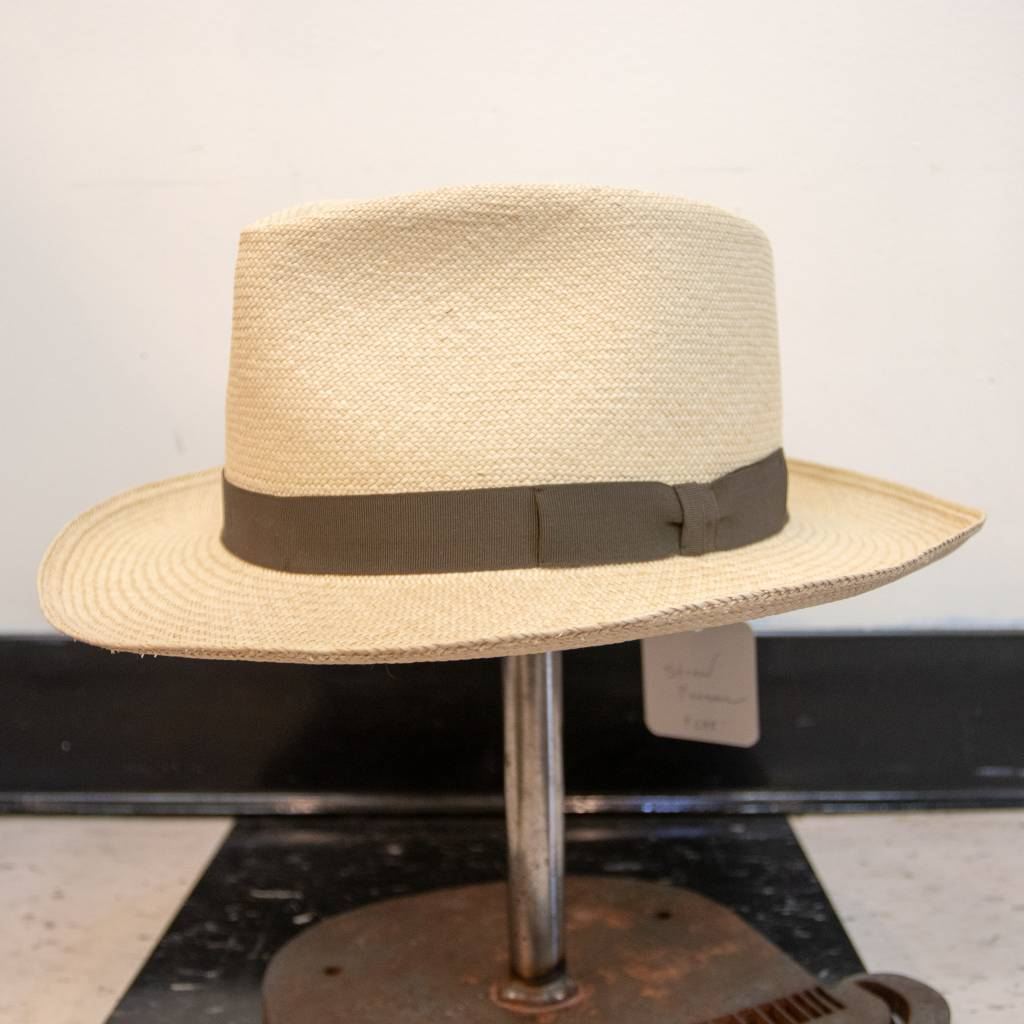 Griffin Hatters Straw Panama w/ leather band