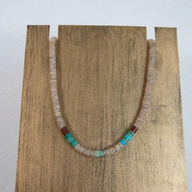Navajo Necklace Shell and Turquoise