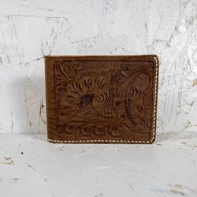 Hand Carved One Flower Billfold