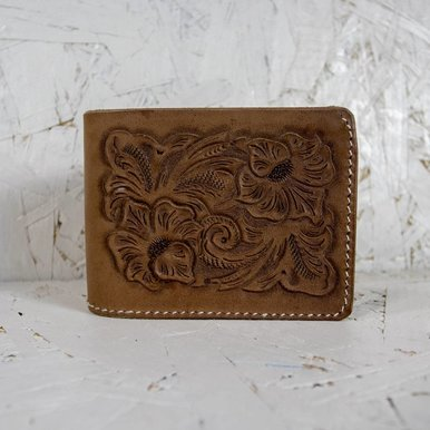 Hand Carved Two Flower Billfold