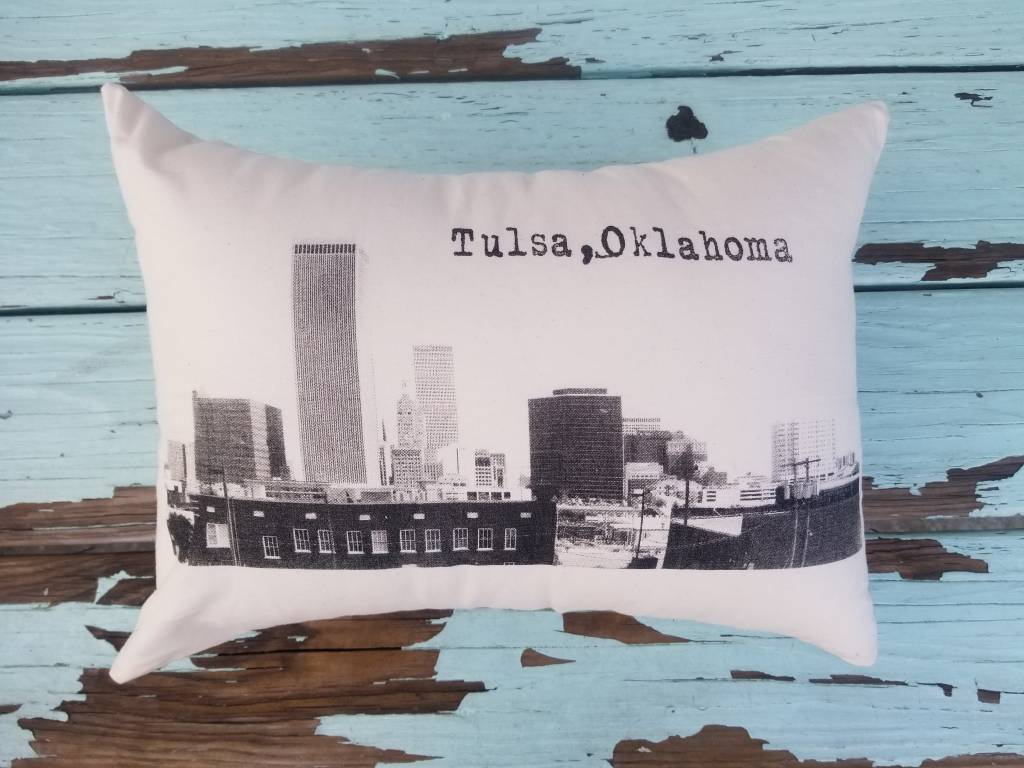 Oklahoma Made Tulsa Skyline Pillow