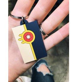 Ida Red Tulsa Flag Rubber Keychain