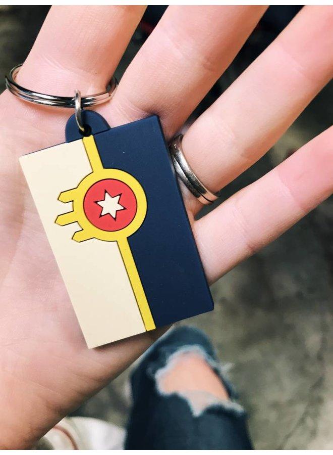 Tulsa Flag Rubber Keychain