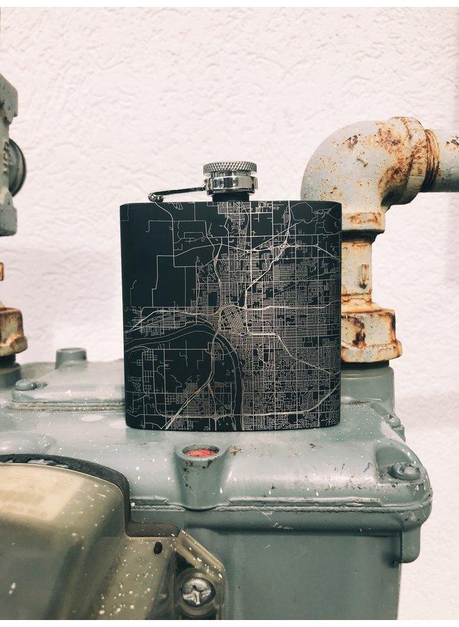Tulsa Map Hip Flask in Matte Black