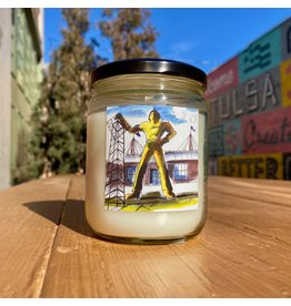 Tulsa In Ink Golden Driller Glass Candle