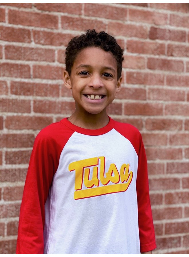 Tulsa Baseball Script Youth Raglan