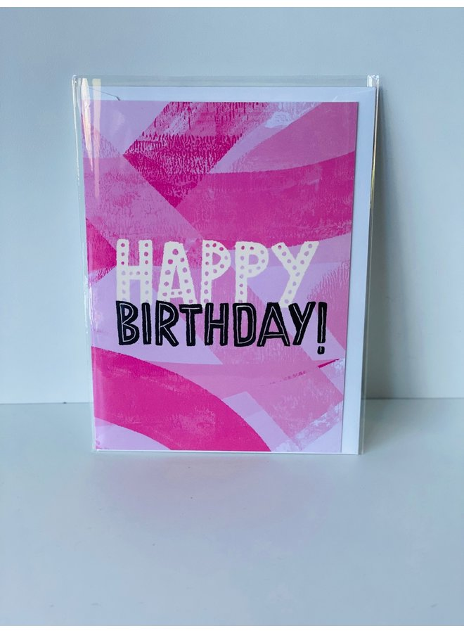 Happy Birthday Pink Texture Card