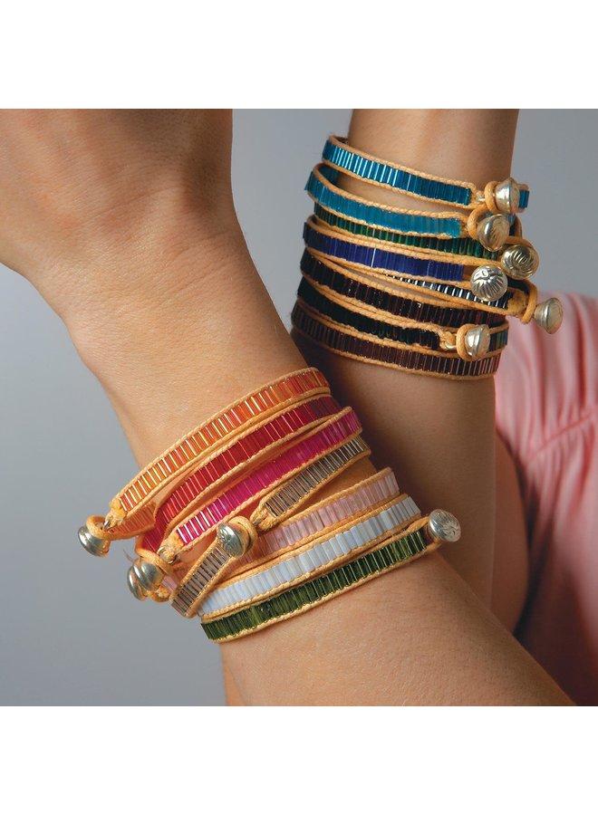 Color Bars Bugle Bead Bracelets
