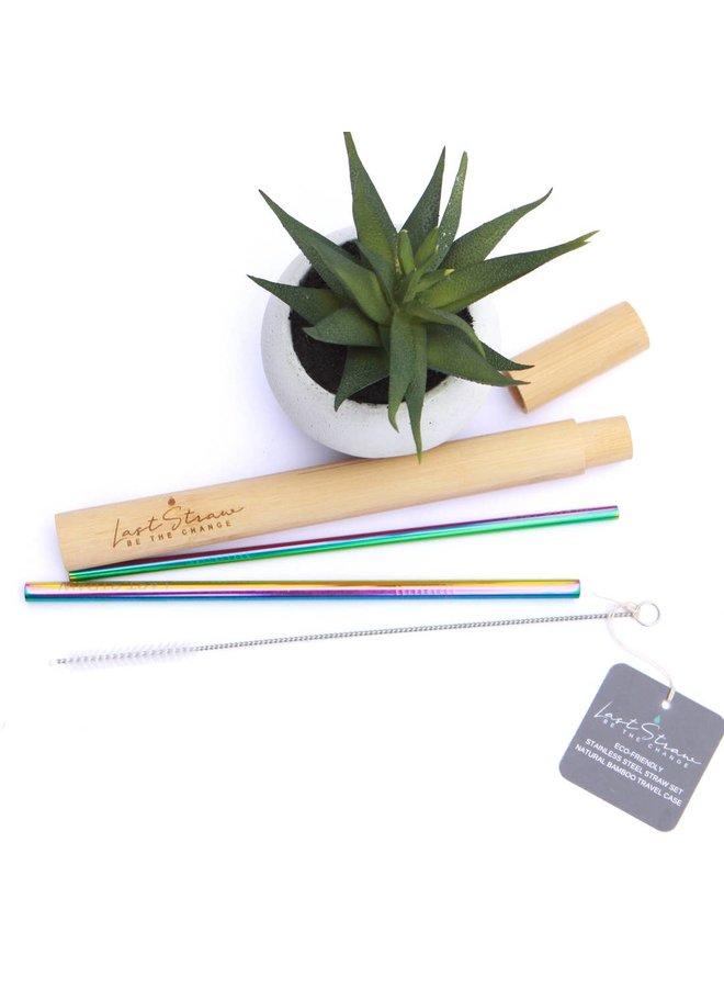 4 pc Straw Set Rainbow In Bamboo Case