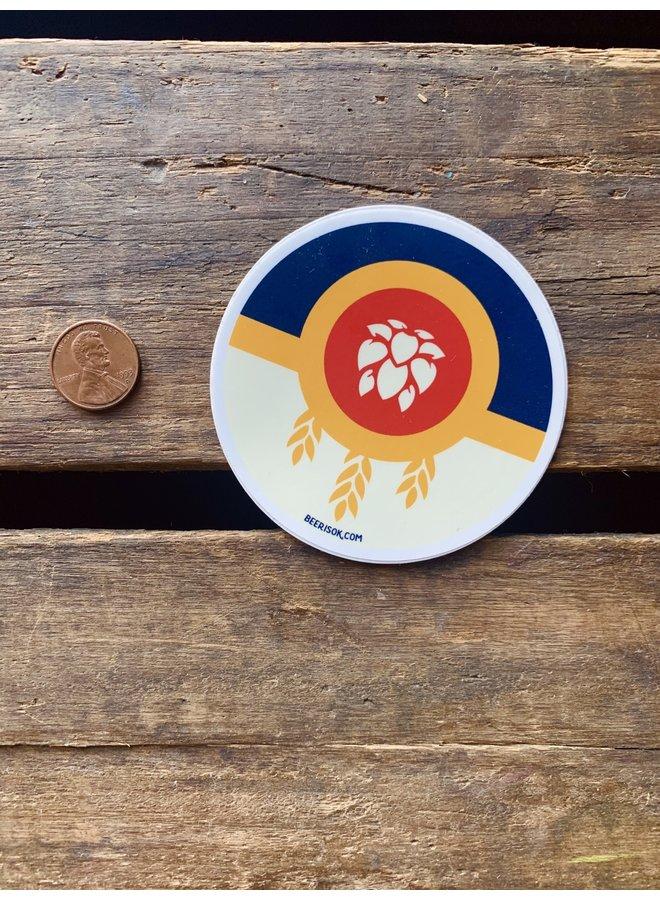 Tulsa Flag Beer Circle Sticker