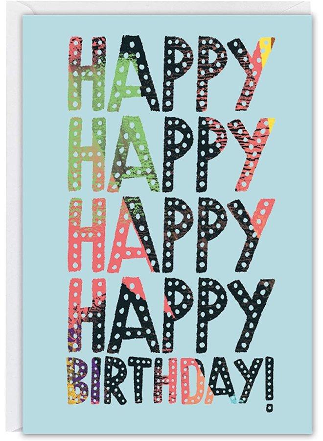 Happy Happy Birthday Blue Card