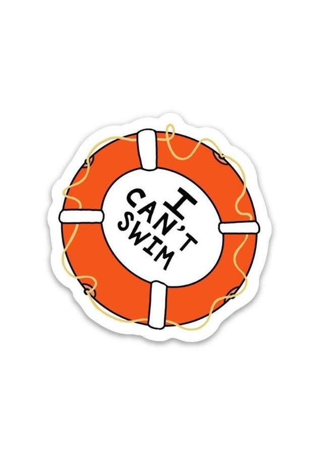 I Cant Swim Sticker