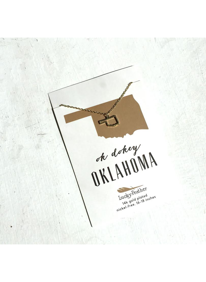 State Necklace - Gold - Oklahoma
