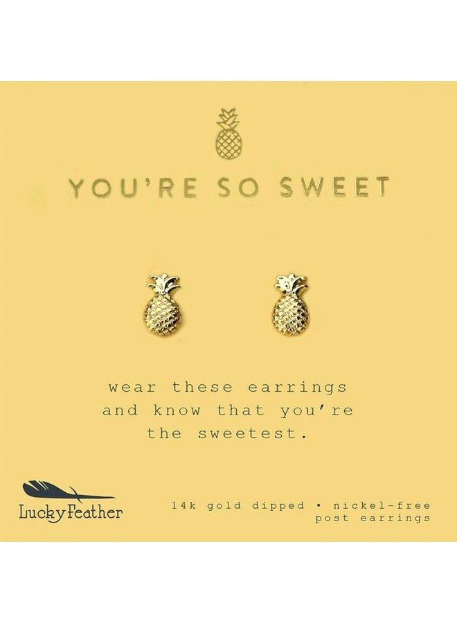 New Moon Gold Earrings - Sweet/Pineapple