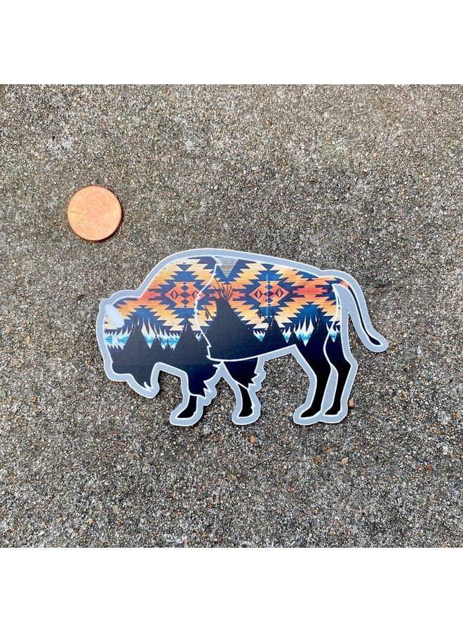 Teepee Art Bison Sticker