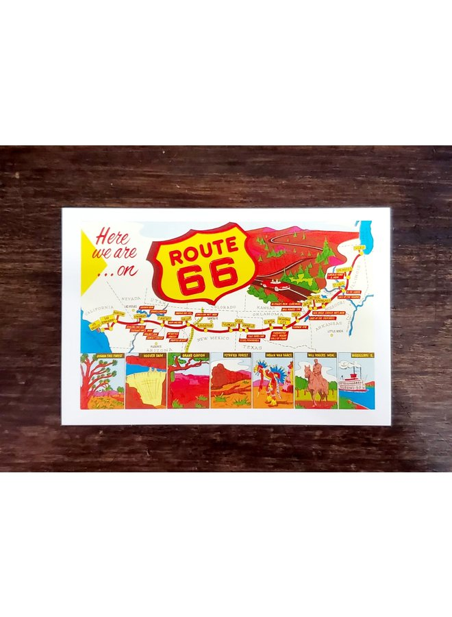 Here We Are Route 66 Postcard