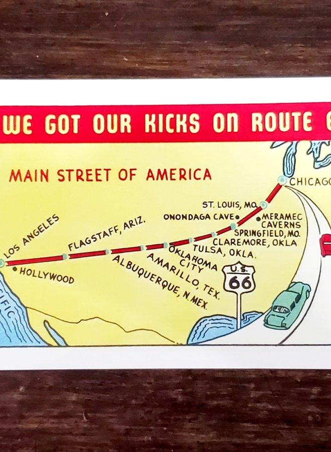 Kicks on Route 66 Postcard