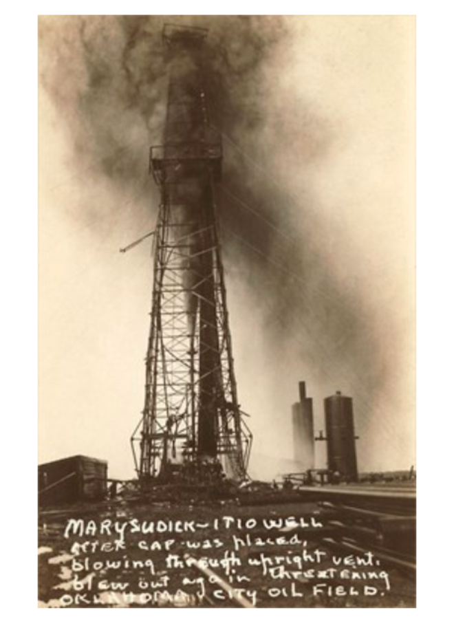 Spurting Oil Well Sepia Postcard