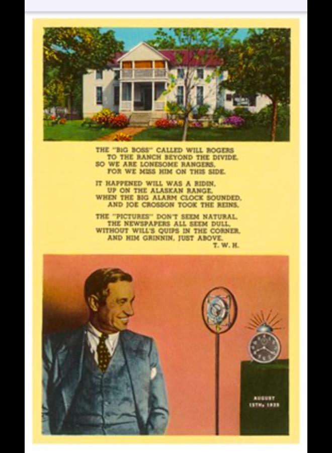Will Rogers Tribute Postcard