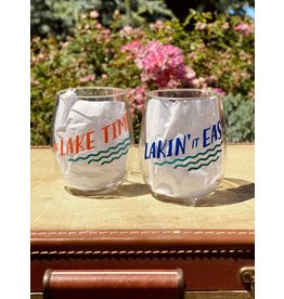 Twos Company Lake Life Stemless Wine Glasses Set of 2