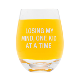 About Face Losing My Mind Wine Glass