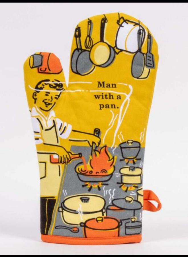 Man With a Pan Oven Mitt